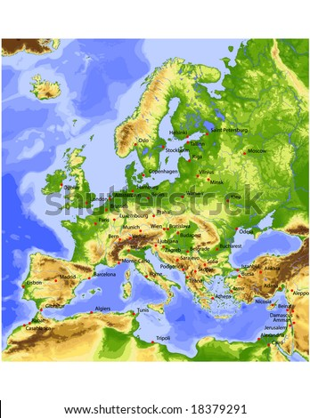 Europe. Physical vector map, colored according to elevation, with rivers, ocean depths and 63 cities. 28 layers, fully editable. Data source: NASA - stock vector