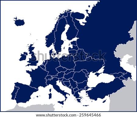 Europe Political Blank Map - stock vector