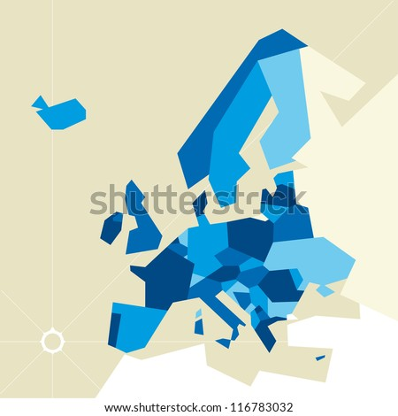 Europe restricted map - stock vector