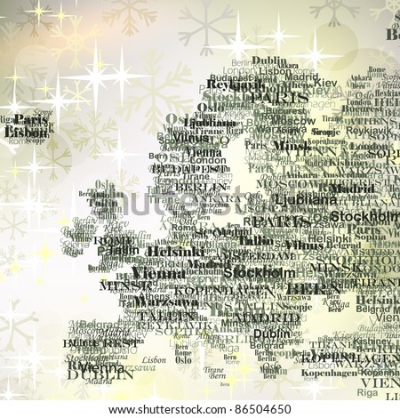 Europe silhouette made from capitals names on Christmas background with  glittering snowflakes - stock vector