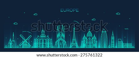 Europe skyline detailed silhouette. Trendy vector illustration, line art style. - stock vector