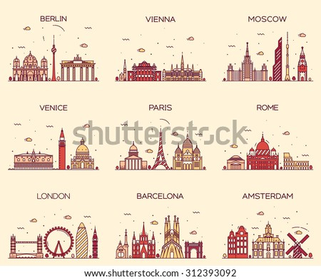 Europe skylines detailed silhouette. Berlin, Vienna, Moscow, Venice, Paris, Rome, London, Amsterdam, Barcelona. Trendy vector illustration, line art style. - stock vector
