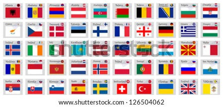 europe stamps against white background, abstract vector art illustration; image contains transparency - stock vector