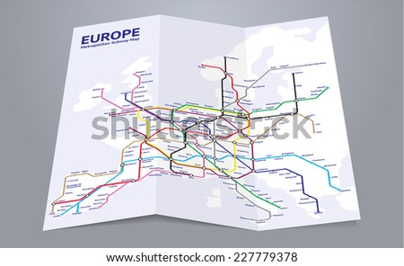 Europe Subway Map Folded Paper Map Stock Vector 227779378 ...