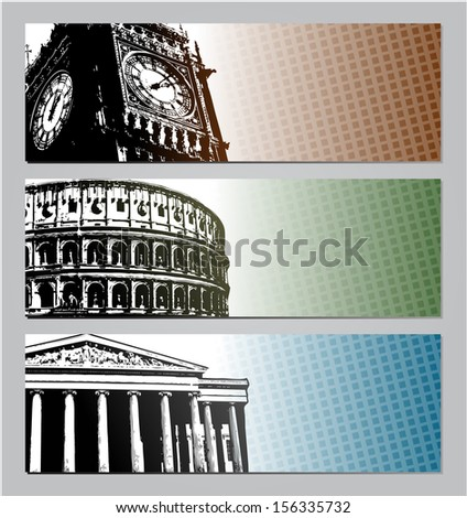 Europe travel banners illustration eps 10 - stock vector
