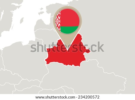 Europe with highlighted Belarus map and flag - stock vector