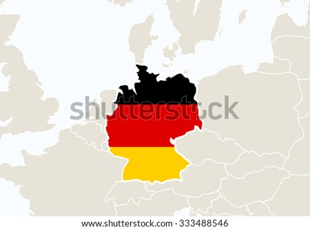 Europe with highlighted Germany map. Vector Illustration.