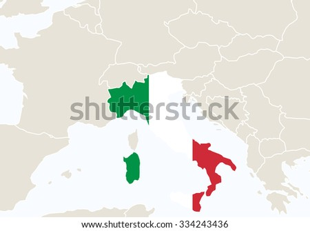 Europe with highlighted Italy map. Vector Illustration.  - stock vector