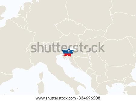 Europe Highlighted Slovenia Map Vector Illustration Stock Vector ...