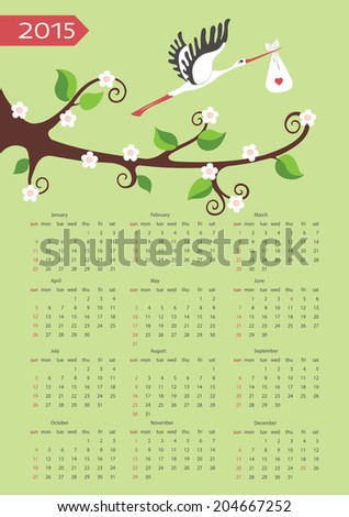 European calendar 2015.Cute cartoon baby composition.Flowering branches of a tree and flying stork with newborn baby.Cartoon illustration,template. Vector