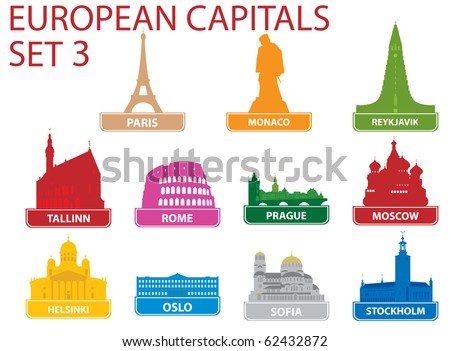 European capital symbols. Vector illustration. Set 3 - stock vector