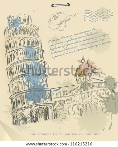 European cities symbols sketch. Leaning tower of Pisa Italy on Vintage Old papers - stock vector