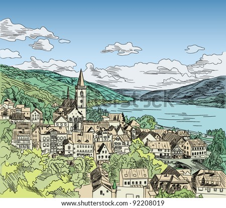 European city color vector illustration; color, contour and hatching in different layers - stock vector