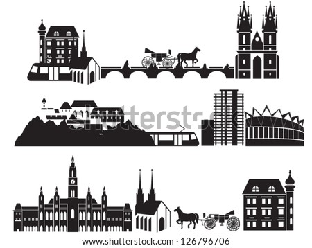 European city silhouettes, landscape with old and modern buildings, Prague bridge, Vienna city hall, conference hall, sky-scrapper, tram, coach, horse, castle, church etc - stock vector