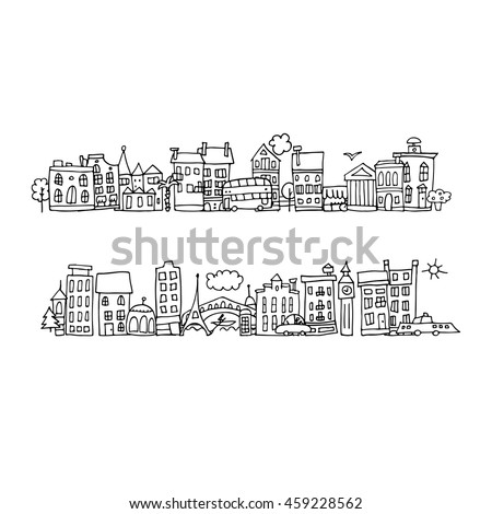 European city street, sketch for your design