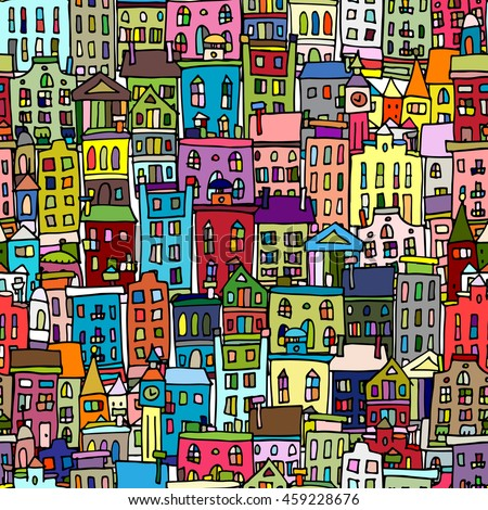European cityscape, seamless pattern for your design - stock vector