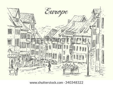 European classic streets,hand drawn,isolated,vintage,sketch,vector,illustration