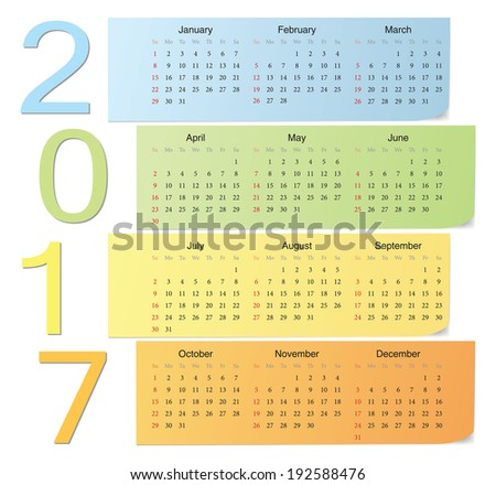 European 2017 color vector calendar with vertical numbers. Week starts from Sunday. - stock vector