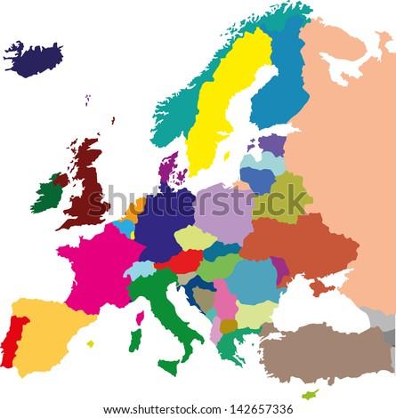 European colored political map - stock vector