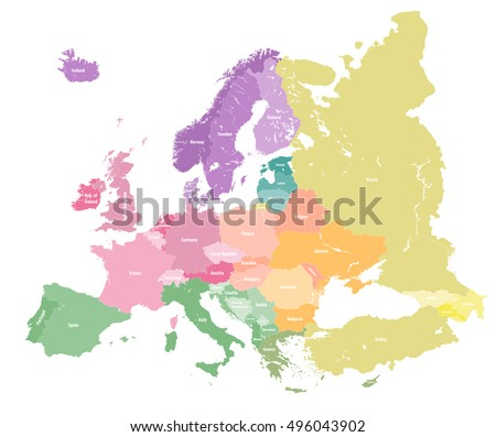 European colorful political map. All elements detachable and labeled. Vector