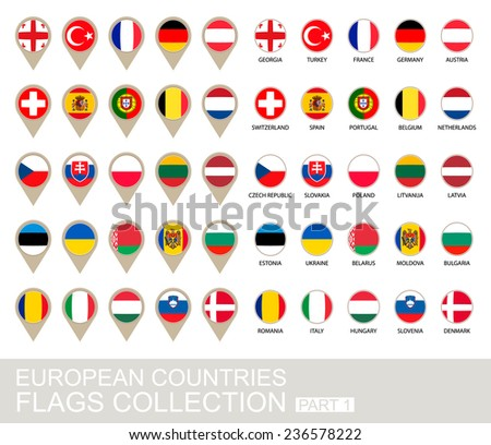 European Countries Flags Collection, Part 1 , 2  version - stock vector