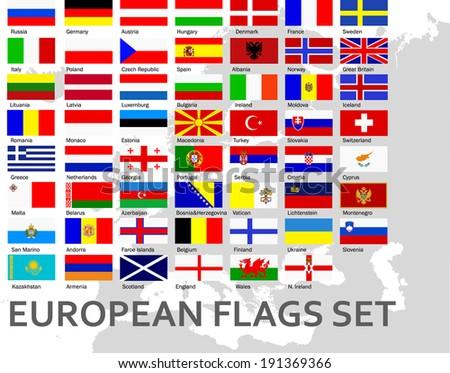 European countries flags set - stock vector
