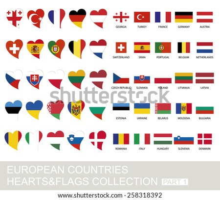 European countries set, hearts and flags, 2  version, part 1