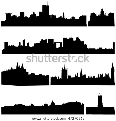 European countries, the most famous buildings - stock vector