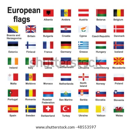 european country flags - stock vector