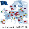 European country flags and map. All elements and textures are individual objects. Vector illustration scale to any size. - stock vector