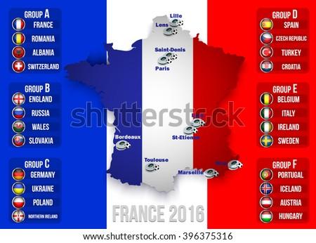 European football championship 2016 - stock vector