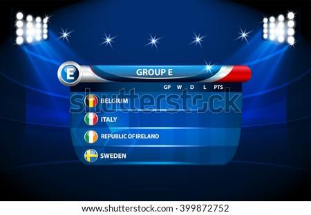 European football championship 2016 in France groups e. vector - stock vector