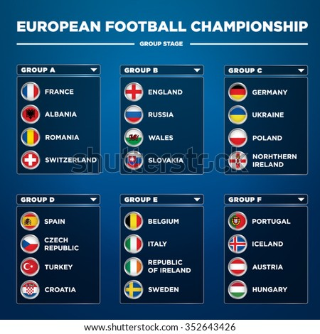European football championship 2016 in France groups vector - stock vector