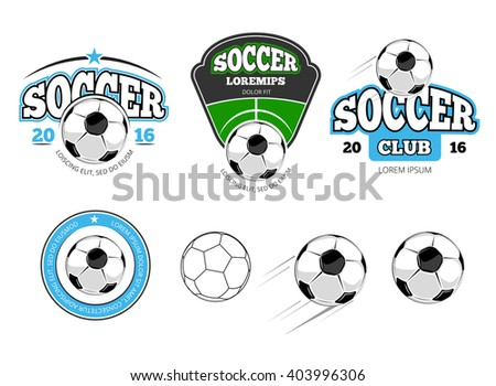 European football, soccer vector labels, emblems, logos and badges. Sport soccer, ball for football soccer, team soccer, game football, play football illustration - stock vector