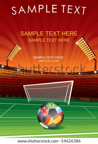 European Football, vector background with stadium, goal and national ball - stock vector