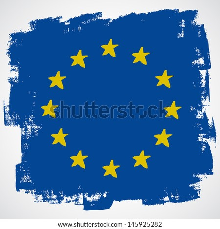 European grunge flag - stock vector