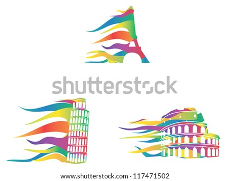 European important places icons. It is design like moving in the wind - stock vector