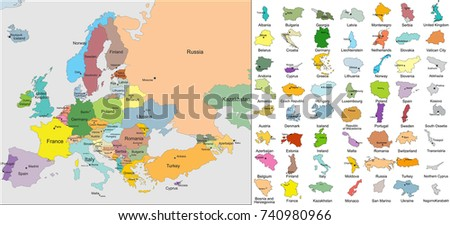 European Political Map. Countries with Capitals