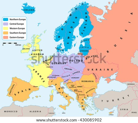 european regions on europe political map all data are in layers for easy editing vector