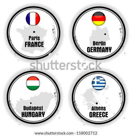 European stamps with flag - stock vector