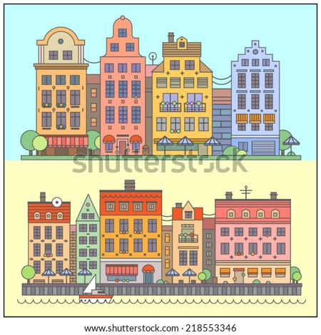 European street landscape. Vector flat illustrations: embankment, old houses, cafes, shops, market stalls, boat, park, trees. - stock vector