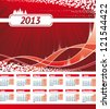 European style 2013 Calendar. Monday week start. Red christmas wave background with space for text - stock photo