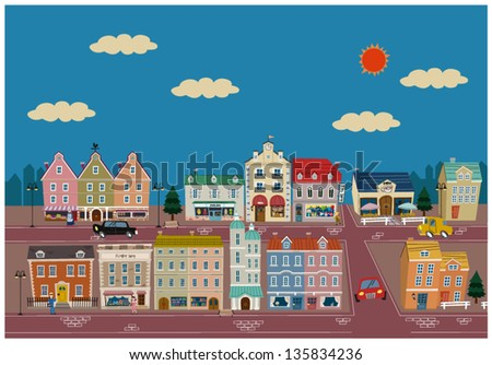 European town And People - stock vector