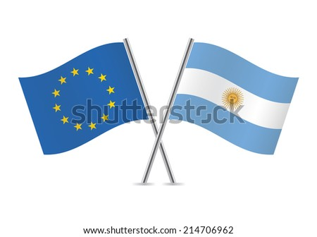 European Union and Argentinian flags. Vector illustration.