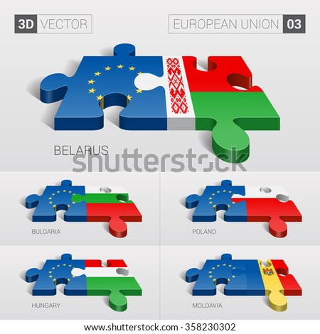European Union and Belarus, Bulgaria, Poland, Hungary, Moldavia Flag. 3d vector puzzle. Set 03. - stock vector