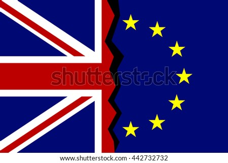 european union great britain flags concept stock vector royalty