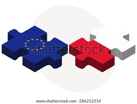 European Union and Poland Flags in puzzle isolated on white background - stock vector