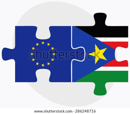 European Union and South Sudan Flags in puzzle isolated on white background