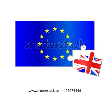 European Union and United Kingdom flag brexit jigsaw puzzle - stock vector