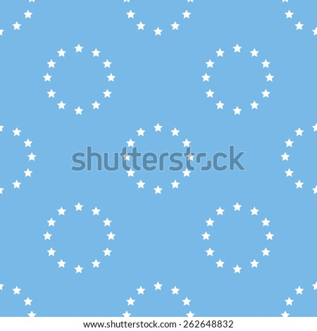European Union blue with white seamless pattern for web design. Vector symbol - stock vector